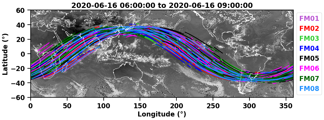 Specular point trajectories from 6am to 9am UTC